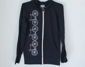 FIXIE HOODIE XS  Bicycle Stripe Hoodie Black and White extra small