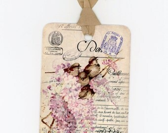 Pink Wisteria and Birds Gift Tags , Bird Tags , French Bird Tags , Crown , Pink Flowers , Shabby Tags