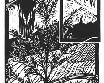 One For Sorrow - block print - Black and white