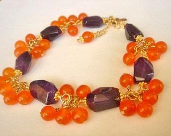Amethyst Carnelian Bracelet Gold Vermeil Bracelet Layering Bracelet