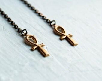 SALE Life Ankh Earrings / Shoulder Duster / Tribal Egyptian Revival / Key of Life / Egyptian Earrings