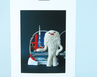 Print: Fluffy Jamila - felt plush needlefelt photo graphic wall decor art digital kaiju sic-fi toy japan retro