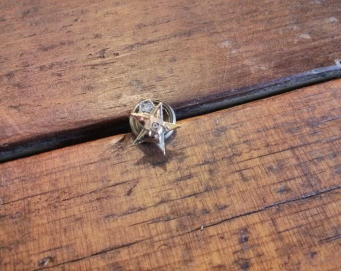 14K Gold Freemason Eastern Star Lapel Pin or Tie Tack with Diamond