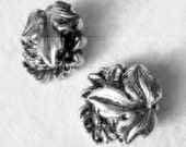 Earrings, Vintage Silver Earring, Clip Earrings, Circa 1950 Earrings,  Flowers and Leaves Earrings,Silver Earrings. Sophisticated,Earrings