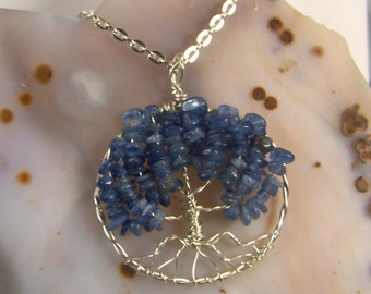 Tree of Life necklace, blue Kyanite & Sterling Silver, pendant w/chain - Sapphire Blue for September birthday birthstone