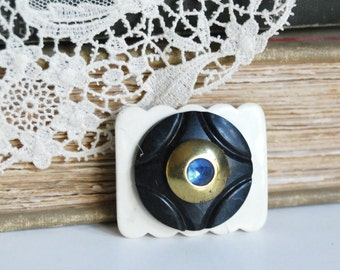 Vintage Button Brooch, Art Deco Celluloid Brass Blue Rhinestone White Buckle Eco Friendly Jewelry Spring Accessories Winter Accessories