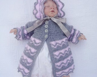 CROCHET PATTERN For Baby Zig Zag  Matinee Jacket & Hat in 5 Sizes PDF 218  Digital Download