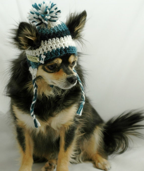 Dog Hat Knitting Pattern Free : Dog hat crocheted Variegated Dark Teal and Winter by ShaggyChic