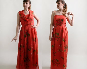 Vintage Maxi Dress - Two Piece Floral Chiffon Overlay Floor Length Gown - Medium
