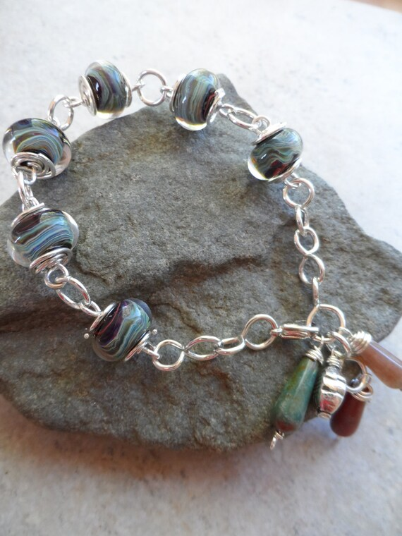 Mystical ... Boro and Sterling Wire Wrapped Bracelet