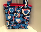 Love, Gift Tote Bag, Gift Wrap, Reusable, Wrapping Paper, Happy Birthday, Valentine, Fabric Gift Bag, Patriotic Ribbon Print, Hearts