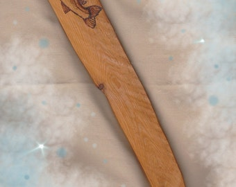 "Athame - Wiccan - Wicca - Pagan - Witch - Wizard - All Cedar Wood ""Salmon Spirit"" Woodburned Handmade Rustic OOAK"