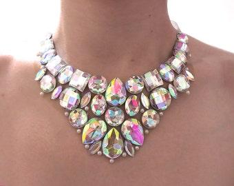 Crystal AB Rhinestone Bib Necklace, Bridal Bib Necklace, Clear AB Rhinestone Statement Necklace, Bridal Rhinestone Bib Necklace