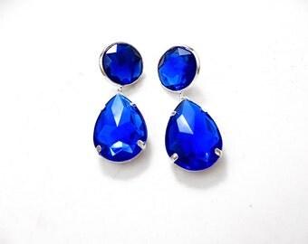 Blue Acrylic Rhinestone Drop Earrings, Simple Blue Acrylic Rhinestone Earrings, Blue Acrylic Rhinestone Dangle Earrings