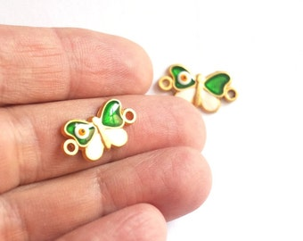 2pcs- Matte Gold Plated Green evil eye with butterfly connector-20x9mm (017-019GP)