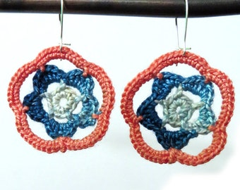 Peach and Teal Flower Earrings on Sterling Silver Wire