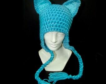 Teal Fox Ear EarFlap Hat