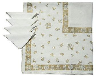 Vintage Tablecloth & Napkins Gold Rooster Deer Acorns
