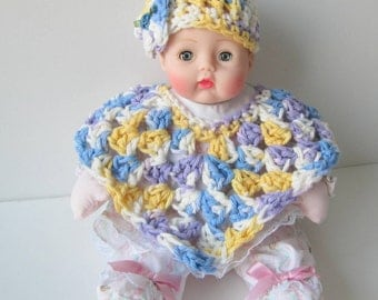 Huggums Baby Doll Clothes, Doll Poncho and Hat, Crochet Doll Clothes, Blue and Yellow Doll Poncho and Hat, Fits Huggums and 12 inch Dolls