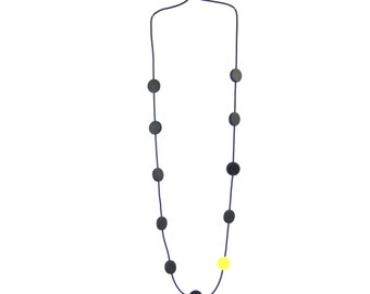 long black and yellow necklace, resin jewelry designed by Frank Ideas, lightweight accessories