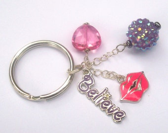 BELIEVE Charm Cluster Keychain - Beauty Inspired Key Ring -Glam Girly