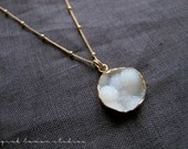White Druzy Necklace on a Gold Chain