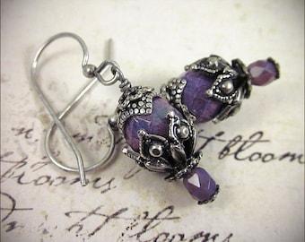 Orchid Earrings, Purple Renaissance Earrings, Victorian Earrings, Bridesmaid Jewelry, Renaissance Garb, Medieval, Ren Faire, Rhiannon