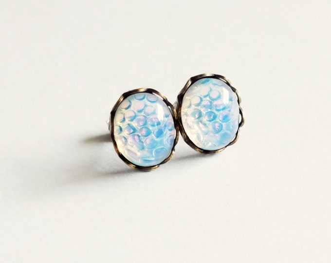 Opal Stud Earrings Small Vintage Glass Studs Iridescent White Thousand Eye Moonstone Post Earrings Hypoallergenic White Opal Jewelry