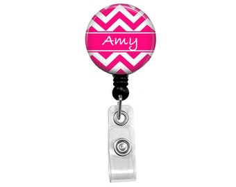 Personalized Pink & White Chevron Name Retractable Badge Reel Holder ID Clip You Pick The Name