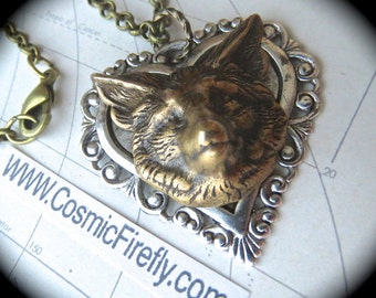 Fox Necklace Antiqued Silver Heart Necklace Brass Fox Head Gothic Victorian Mixed Metals Vintage Inspired Style Steampunk Jewelry The Fox