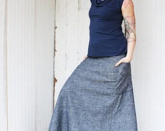 Organic Denim Full Length Passport Pocket Skirt - Hemp and Organic Cotton Made to Order