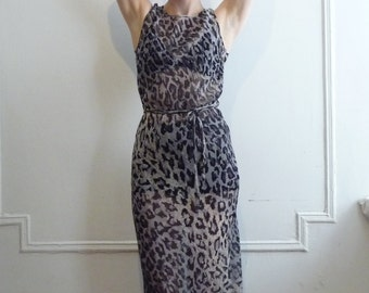 90s BCBG Sheer Bias Cut Silk Animal Print Dress
