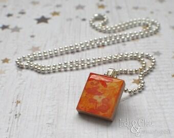 Abstract Tangerine Scrabble Necklace, Handmade Scrabble Tile Art Pendant, Wood Pendant, Multicolor Scrabble Jewelry, Tiny Jewelry