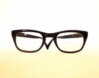 Black Wayfarer Style Eyeglasses/ Bigger USA Vintage Sunglasses /Men/ Women /Geeks on sale