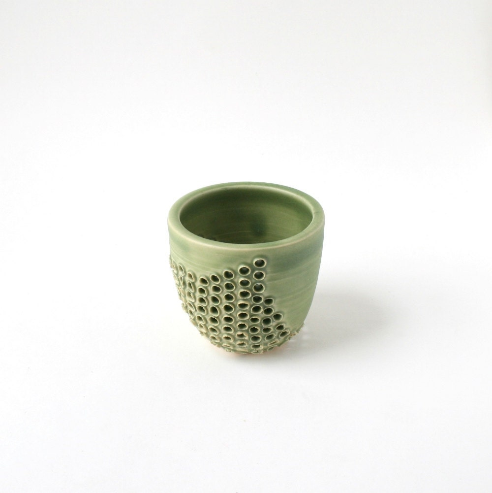 Green Tea Light Ceramic Candle Holder Spring Green Clay