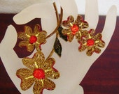 Signed ART 60s Nice Fall Colored Enamel Flower Brooch and Matching Clip Earrings Excellent Condition