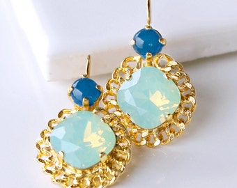 Brilliant Chrysolite Opal Crystals with Blue Jade Gemstones Set in Beautiful Rope Chain Detailed Gold Lever Back Earrings