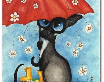 Siamese Cat Spring Showers Mothers Day Daisies- Art Prints by Bihrle ck345