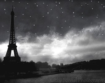 Paris Black and White Photography, Eiffel Tower Black White Prints, Eiffel Tower Starry Night Print, Paris Eiffel Tower Black and White Art