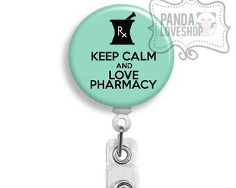Keep Calm and Love Pharmacy Badge Reel (Belt Slide Clip or Swivel Spring Clip) badge holder, pharmacy, pharmacist, id holder, id badge