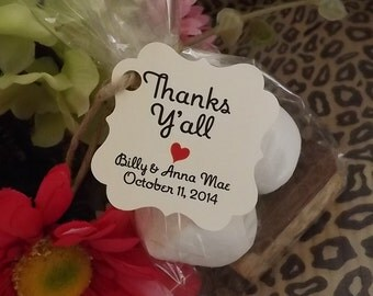 Wedding Favor Tag, Thanks Y'all Tags Wedding Favor Rustic Wedding Favors Wedding favors Candy Tags, Dessert Tags Treat Tags