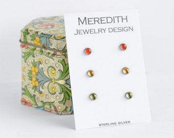 sterling silver stud earrings red orange carnelian, citrine, and peridot trio three pairs