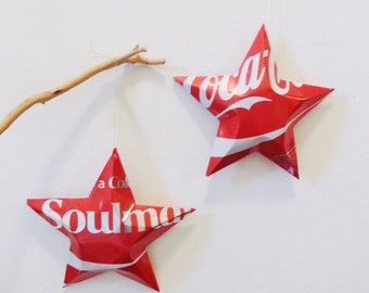 Soulmate Coke Stars Christmas Ornaments  Soda Can Upcycled Coca Cola