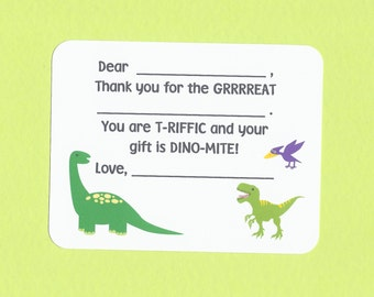 Dinosaur Fill in the Blanks Thank You Cards - Dinosaur Birthday Party Cards, Kids Dinosaur Cards, Easy Thank You Cards, Dinosaur Stationery