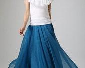 chiffon skirt long, blue skirt,elastic waist skirt, Jade blue skirt, summer skirt, Maxi skirt, woman summer skirt,  long tulle skirt  (894)