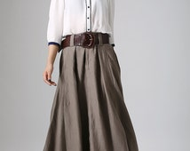 brown long linen skirt - taupe hues maxi skirt -women long skirt - casual skirt - 2016 spring skirt - custom made & Handmade - plus size 905