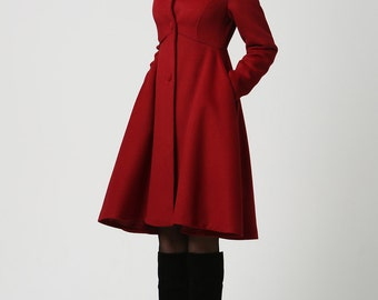 Coat,Red coat, hooded coat, Womens Coats, Wool Coat,long Coat,Winter Coat Woman,Winter Coat,Wool Jacket,winter jacket,dress coat,Gift 1117