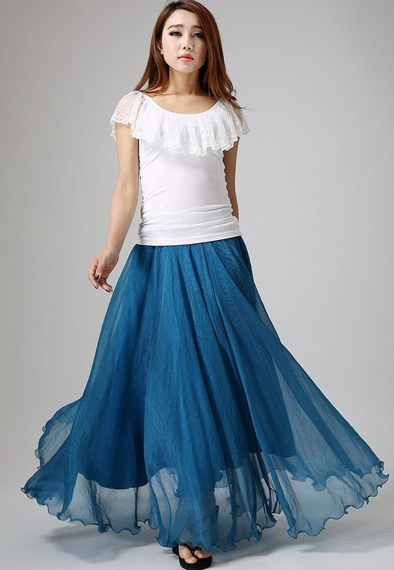 chiffon skirt long, blue skirt,elastic waist skirt, Jade blue skirt, summer skirt, Maxi skirt, woman summer skirt,  long tulle skirt  (894)