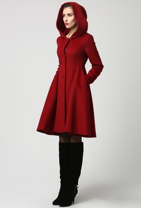 Wool Coat Winter Coat Red coat hooded coat women coat