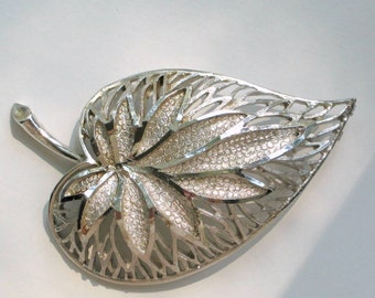 Amazing Coro Brooch Rhodium Plate Vintage 60s Costume Jewelry